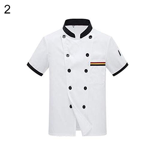 gLoaSublim Chef Coat,Unisex Short Sleeves Chef Jacket Costume Stand Collar Couple Kitchen Cook Work Top White L