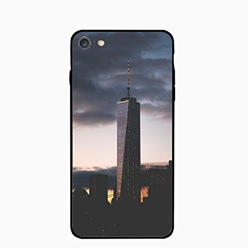 iPhone 7 Case, Skyscrapers Night City Clouds York USA Printed Clear Design Case with TPU Bumper Protective Case Cover for iPhone 7