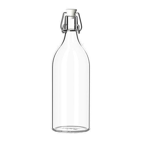 KORKEN Bottle with Stopper, Clear Glass, Diameter: 9 cm Height: 29 cm Volume: 1 l, Tight-fitting stopper that prevents leakage. by KORKEN