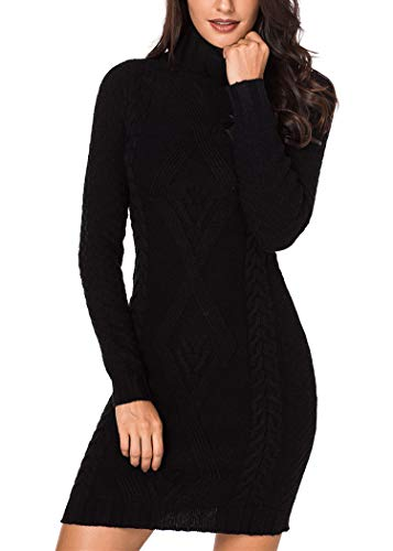 Sidefeel Women Stylish Pattern Knit Turtleneck Sweater Dress Small Black (Womens Dress Turtleneck Sweater)