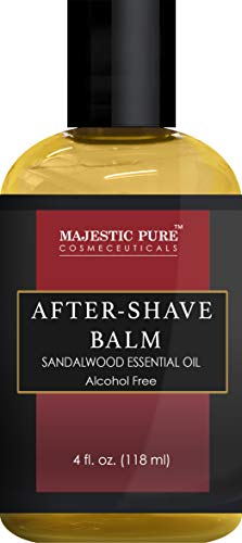 After Shave Balm for Men with Sandalwood Essential Oil by Majestic Pure - Moisturizing and Nourishing Aftershave Lotion, for Silky Smooth Shaving, 4 fl oz ()