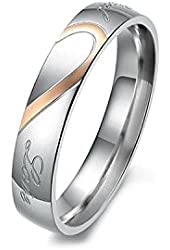 "Women's ""Real Love"" Ring Stainless Steel Arched Real Love Silver Tone and Rose Gold Tone Width: 5mm (6)"
