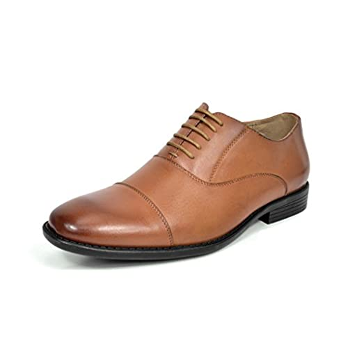 Bruno MARC DP06 Men's Formal Modern Leather Wing Tip Loafers Lace Up  Classic Lined Oxford Dress Shoes BROWN SIZE 9.5