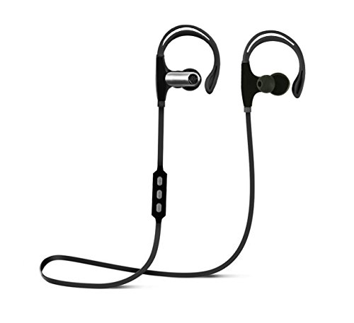 MyMe fit H7 Bluetooth Wireless Earphones w/Microphone, HD Sound, 4 Hour Rechargeable Battery, Sweat-Proof, Comfortable Fit for Gym, Running, Crossfit, Black