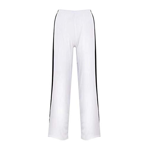 Pantalón Blanco de Jeans de de Pantalones Impreso Alta Vaqueros Fitness Cintura Ocio Rayas Cintura Boho Leggings Pata Yoga Estilo Ancha Cordón ASHOP de a Mujer Pantalones Aw4qT7pA