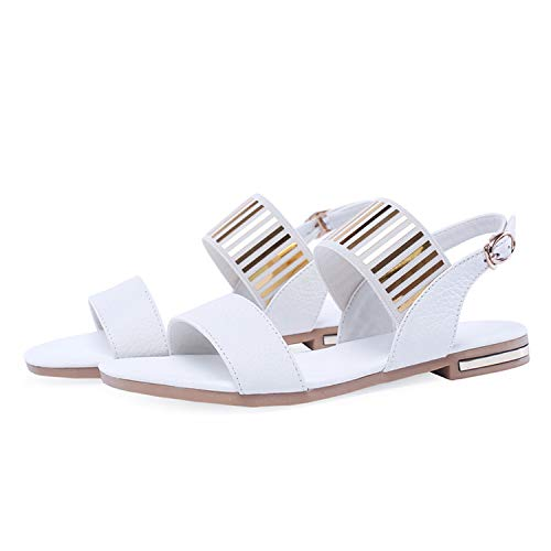 MoMo Summer Sandals Women Shoes Natural Genuine Leather Buckle Flat Shoes Metal Decoration Open Toe Sandals Ladies Size 3-12,White,9.5]()