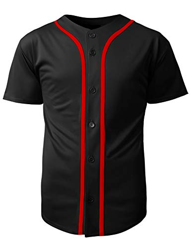 Hat and Beyond Mens Baseball Team Jersey Button Down T Shirts Plain Short Sleeve Top (Medium, 1up01_Black/Red) ()