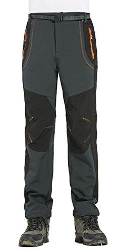 TBMPOY Men's Lightweight Winter Windproof Fleece Lined Snow Ski Pants(03 thick grey,us M)