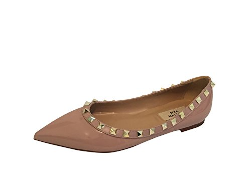 Kaitlyn Pan RockStud Ballerina Leather Flats,Poudre Patent/Nude Trim/Gold Studs,8.5US/ 39EU/ 40CN by Kaitlyn Pan