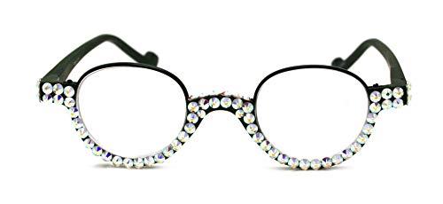 The Bellagio, Round Women Bling Reading Glasses with Full Bottom AB (Borealis Aurora) Swarovski Crystals +1.50, 2.00, 2.50, 3.00 Circle Black Frame. NY Fifth Avenue. (Fifth Avenue Crystal Aurora)