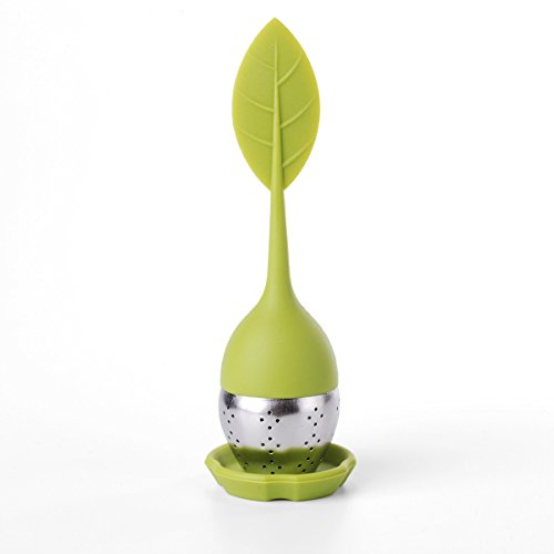 2 Stck Tee-Ei Tea Infuser Leaf Strainer Handle with Steel Ball Silicone eaf Lid (Green) M-HG038 By Xcellent Global