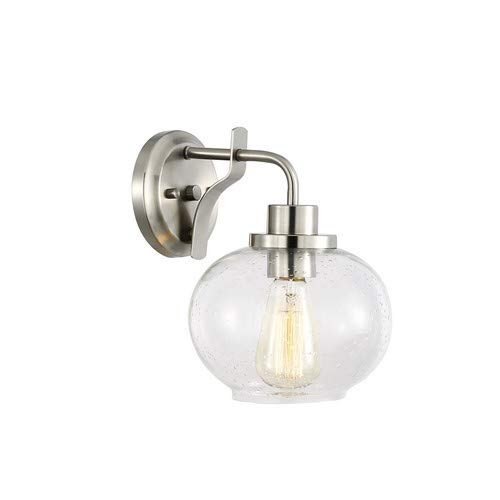 Light Society Sheridan Seeded Wall Sconce, Satin Nickel with Handblown Clear Glass Shade, Vintage Industrial Modern Lighting Fixture (LS-W245-SN) ()