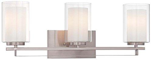 Minka Lavery Wall Light Fixtures 6103-84 Parsons Studio Glass Bath Vanity Lighting, 3 Light, Nickel from Minka Lavery