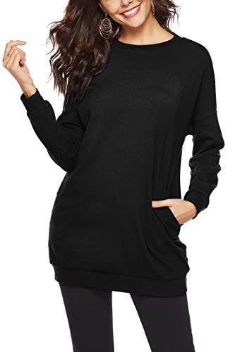 TITAME Womens Fall Comfy Long Sleeve Casual Pullover Tunic Sweatshirt Tops