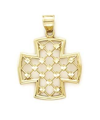 Pendentif 14 carats pour femme Croix en filigrane JewelryWeb