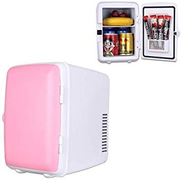 Uniqus Vehicle Auto Portable Mini Cooler and Warmer 4L Refrigerator for Car and Home, Voltage  DC 12V  AC 220V(Pink)