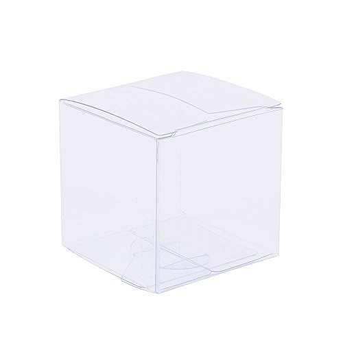 ZOOYOO Transparent Gift Box/Clear Plastic Box for Party favors, Weddings, Packaging (3in*3in*3in)-50PCS