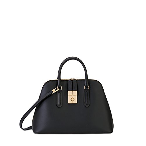 Furla Women's Peggy Medium Dome Satchel, Onyx, One Size