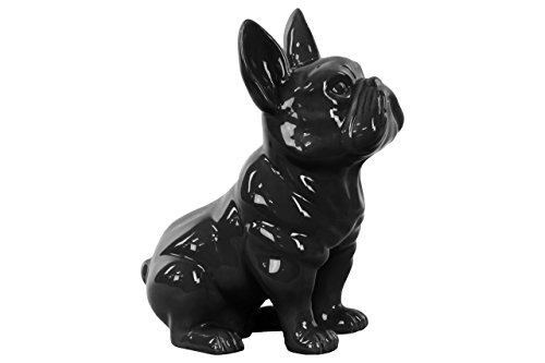 Urban Trends 38485 Ceramic Sitting French Bulldog Figurine with Pricked Ears Gloss Black (French Bulldog Collectibles)