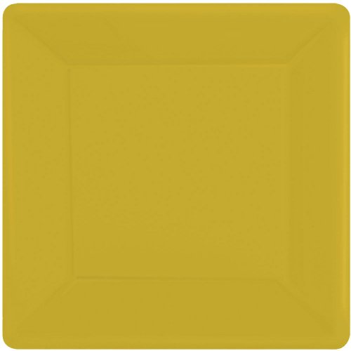 Amscan Disposable Square Party Dessert Plates Tableware, Yellow Sunshine, Paper, 7