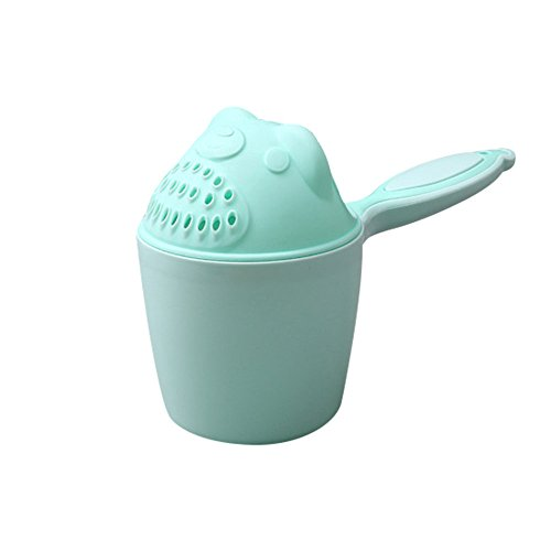 perfectCOCO Baby Shampoo Rinse Cup Baby Dippers Bath Rinser Pail to Wash Hair and Wash Out Shampoo Protecting Infant Eyes (1pc, Green)]()