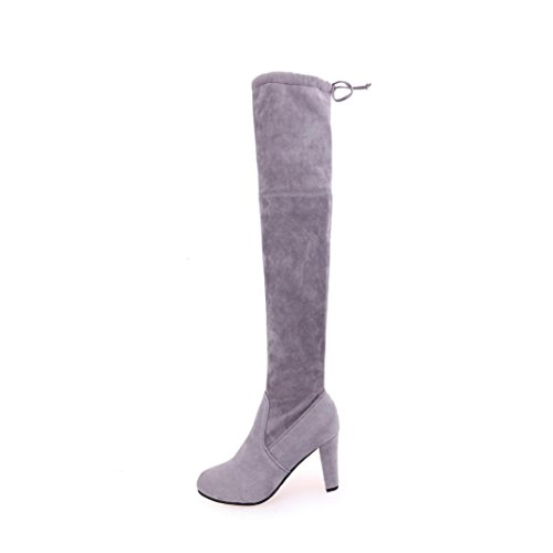 Kolylong Women fashion Stretch Faux Slim High Boots Over The Knee Boots High Heels Shoes Gray