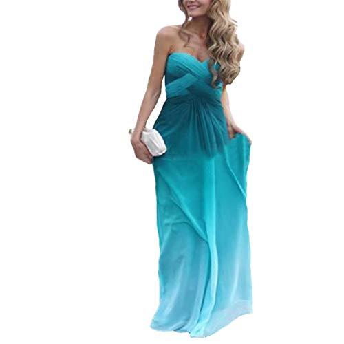 Dimei Women's A Line Sweetheart Gradient Ombre Chiffon Bridesmaid Dress Long Prom Dresses 2018 Blue