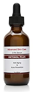 Retinol 2.5% with Vitamin C Serum 20% , Salicylic Acid 2%, 3.5% Niacinamide B3, 10% MSM and Tea Tree Oil - Anti Aging and Skin Clearing Serum for Face, Acne & Blemishes , Best Wrinkle Cream 2.oz brought to you by Advanced Skin Care