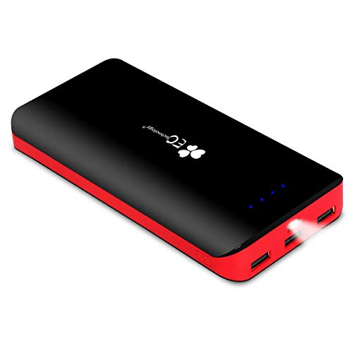 Mobile Power Supply - EC Technology Portable Charger Power Bank 22400mAh Ultra High Capacity External Battery pack 3 USB Output Port phone charger for iPhone, iPad, Samsung, Nexus & More, Black& Red