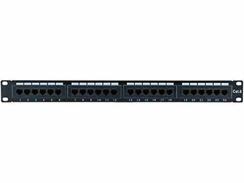 CNAweb 24 Port UL Listed Cat6 1U Rackmount 110 RJ45 Patch Panel 568A 568B (Patch 568b)