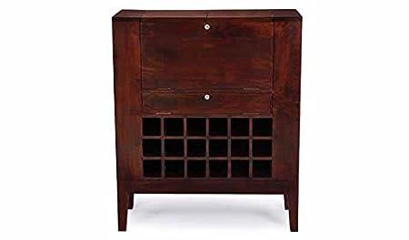 Aprodz Mango Wood Wine Storage Wiluna Stylish Bar Cabinet for Living Room | Honey Finish
