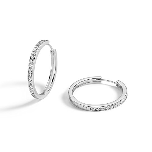 Carleen 925 Sterling Silver Channel Setting Round Cut 16-stone Cubic Zirconia CZ Simulated Diamond Hinged Hoop Earrings for Women Girls Diameter 30mm (White)