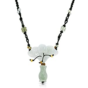 Peacock Orchid Blossom Flower with Vase Handmade Jade Necklace 11