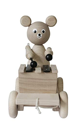 Ella&Frederik Natural Wooden Pull Along Bear with Xylophone | Montessori Toys Handmade in Europe (Wilbert with Xylophone)