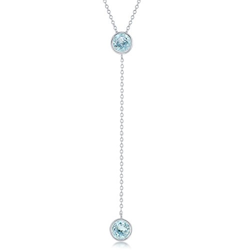 - Sterling Silver Round Bezel-Set Blue Topaz Gemstone Lariat 16+2