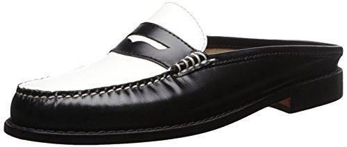 Bass Womens Wynn Leather Closed Toe Mules Black/White