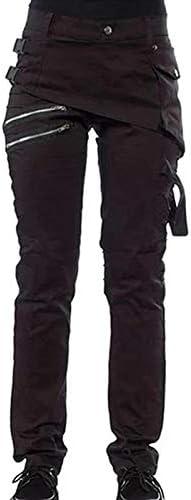 Leggings Color s/ólido Estilo Vintage Pantalones Informales Negro Talla: L. Pantalones Punk Estilo rockero BANGBIU con Cierre Pantalones g/óticos para Mujer
