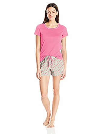 Jockey Women's Knit Boxer Pajama Set, Elephants, S