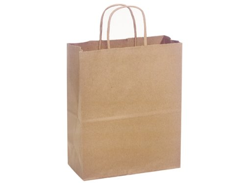 Brown Kraft Shopping Bags - Cub NATURAL Kraft Shopping Bags Bulk 8 x 4-3/4 x 10'' (250 bags) - WRAPS-CUBKR by Miller Supply Inc