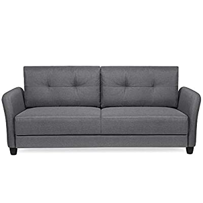 Best Choice Products 76in Contemporary Linen Fabric Upholstered Sofa Couch Lounger - Dark Gray - CLASSIC STYLE: This sofa's simple design makes it ideal for any living space, with an adaptable appearance that blends well in a variety of stylish home setups COMFORTABLE DESIGN: Soft cushioned seats and a tufted backrest provide optimal comfort for you and guests as you lounge over drinks and good conversation GREAT FOR COMPACT SPACES: Made to fit seamlessly in your living room, bonus room, dorm, and more, this sofa doesn't carry excess bulk that takes up too much space - sofas-couches, living-room-furniture, living-room - 31afwVOr7nL. SS400  -