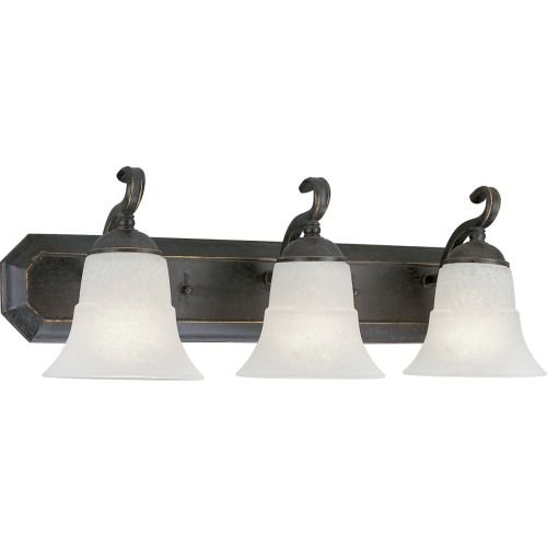 Progress Lighting P3023-84 3-Light Bath Bracket with Etched Water Glass, Espresso