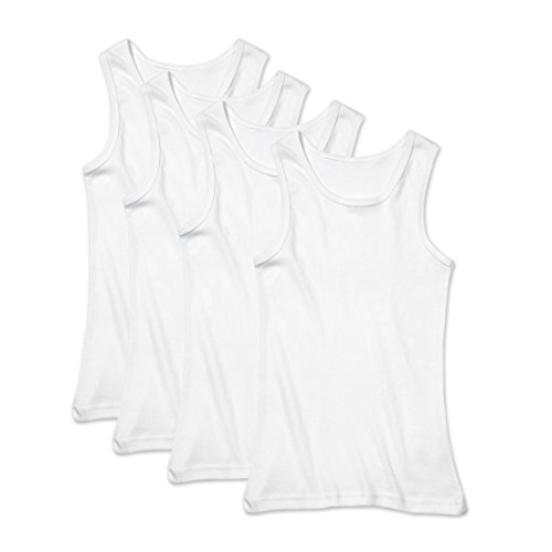 Buyless Fashion Boys Undershirts Tank Top White Soft Cotton Pack of 4 - ()