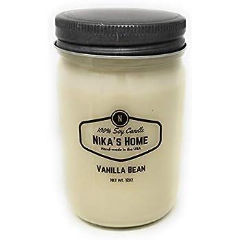 Nikas Home Vanilla Bean 12oz Mason Soy Candle