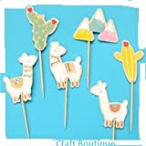Cute Llamas Cupcake Toppers Food Picks Llama Birthday Party Toppers Pack of 24