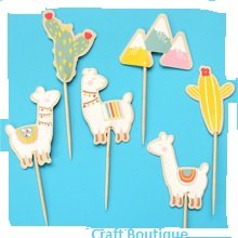 Cute Llamas Cupcake Toppers Food Picks Llama Birthday Party Toppers Pack of 24 by CraftBoutique (Image #3)