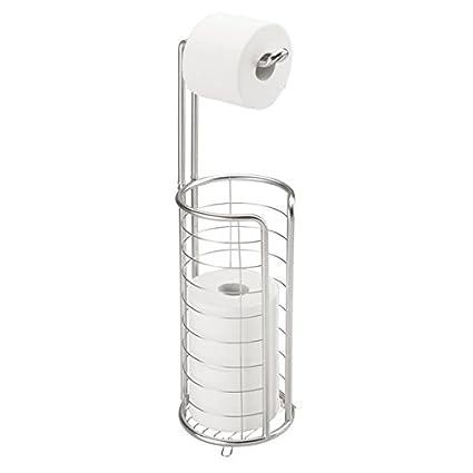 mDesign Portarrollos de papel higiénico autoportante – Moderno dispensador de papel higiénico de acero inoxidable cepillado