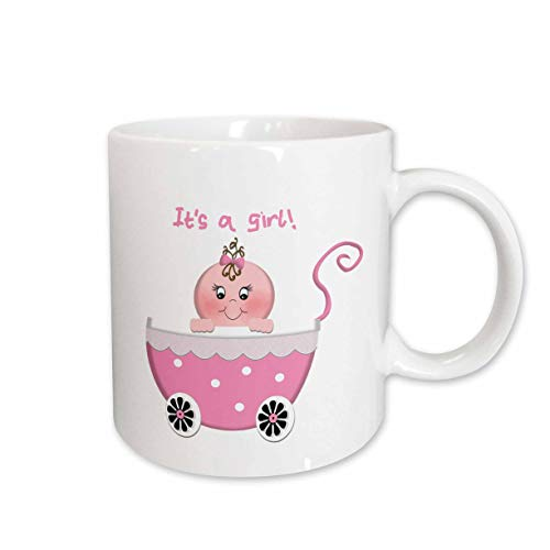 3dRose Cute Pink Polka Dot Its a Girl Baby Buggy Stroller Ceramic Mug, - Ceramic Baby Buggy