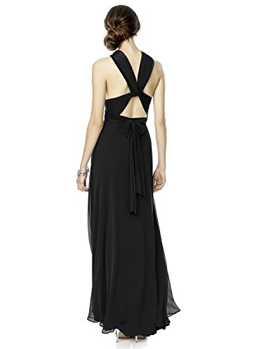 Black Twist Dress Wrap with Jersey Long Overskirt Women's Chiffon Dessy by vqPwUAWx
