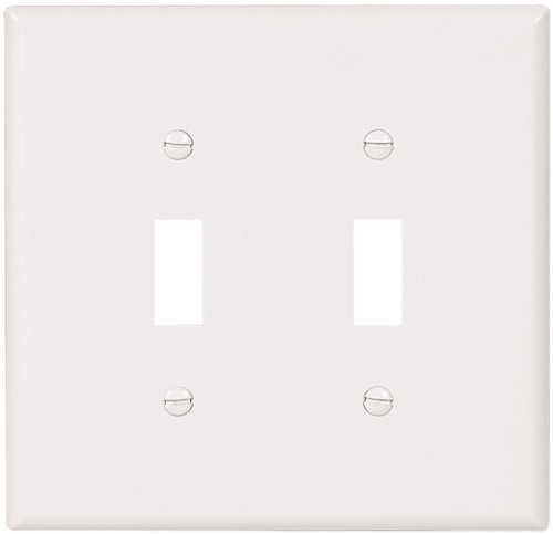 EATON Wiring 2149W Oversize Thermoset 2-Gang Toggle Switch Wallplate, White