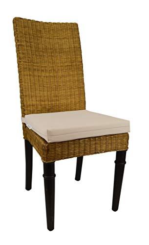 RSH Décor Indoor Outdoor Soho Rattan Wicker Banana Leaf Seagrass Parson Chair Trapezoid Foam Seat Cushion w/Strap - Made from Sunbrella Canvas Canvas (17.5